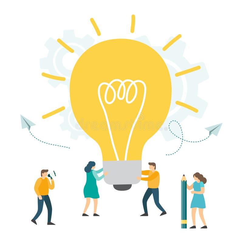 创造性的想法,企业创新,配合,搜寻新的解答 库存例证