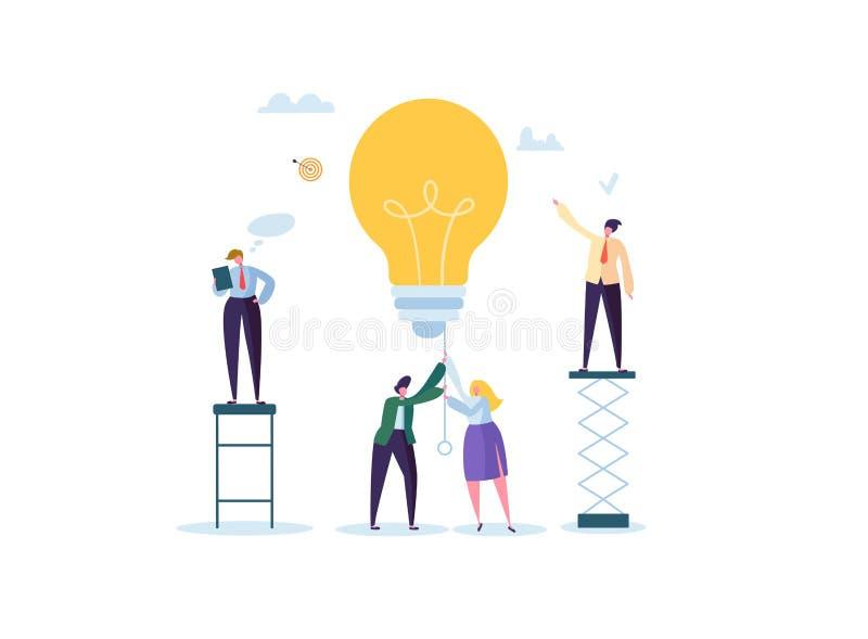 创造性的想法,想象力,与电灯泡的创新概念 一起研究项目的商人字符 向量例证