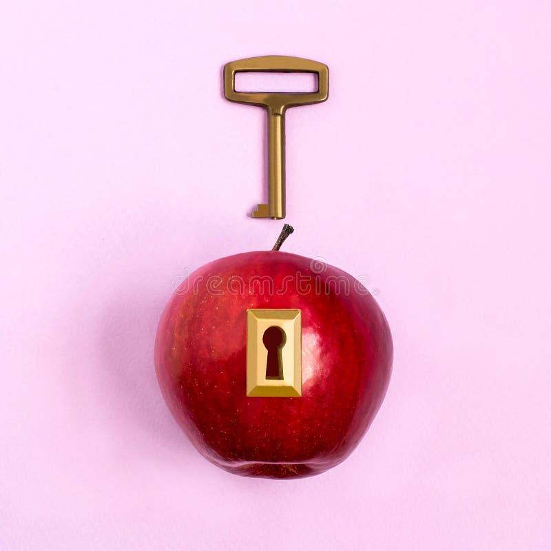 创造性的想法:与锁和钥匙的苹果 库存图片