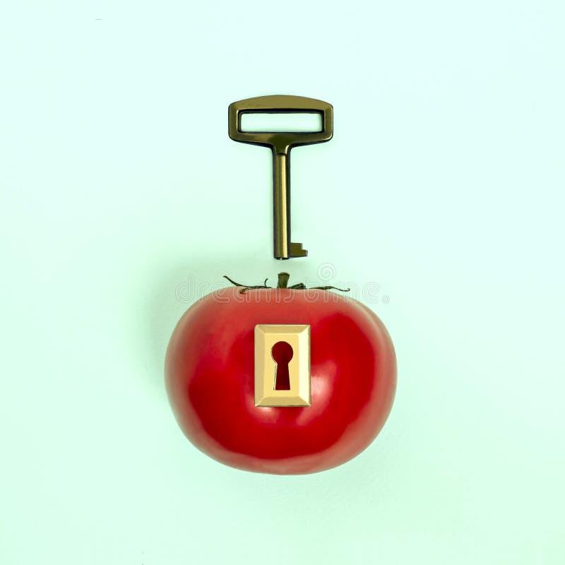 创造性的想法:与锁和钥匙的蕃茄 库存照片