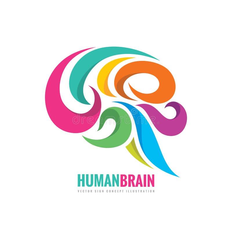 创造性的想法-企业传染媒介商标模板概念例证 抽象人脑五颜六色的标志 灵活使设计光滑 向量例证