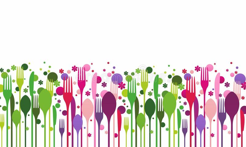创造性的扁平的餐具 库存例证