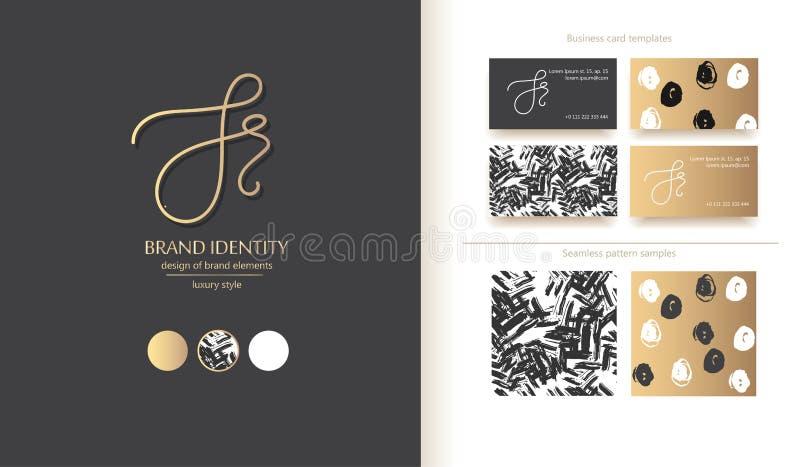 创造性的手拉的书法标志 大写J或S和小写r字母组合 r 库存照片
