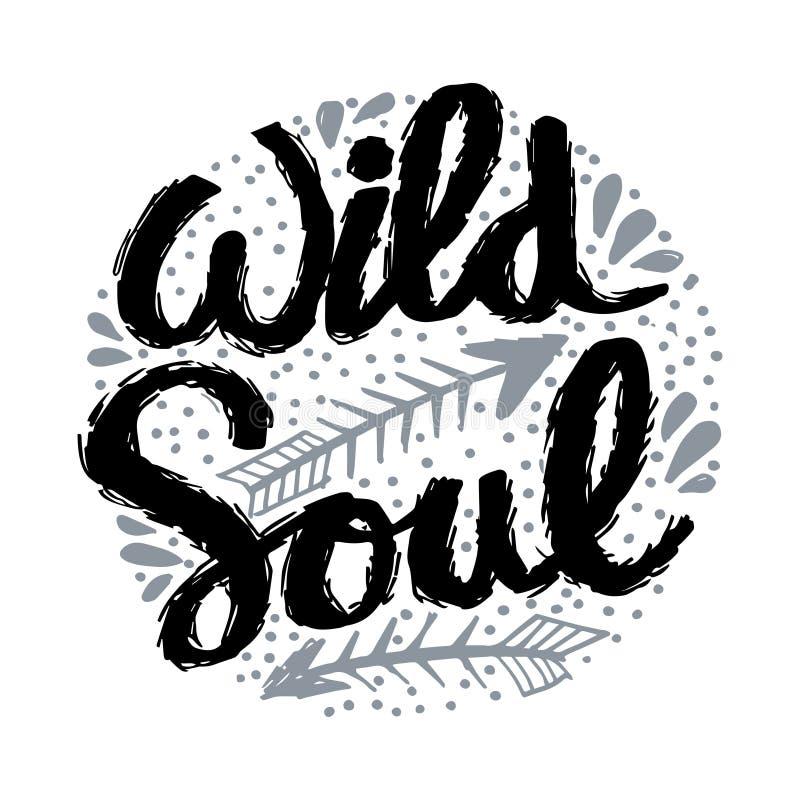 创造性的手拉的在上写字的狂放的灵魂 库存例证