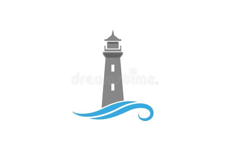 创造性的抽象灯塔波浪商标设计传染媒介标志例证 向量例证