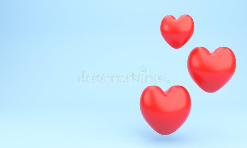 创造性的抽象爱、婚姻的婚礼和情人节庆祝概念:红色光滑的发光的心形被隔绝的o 库存例证