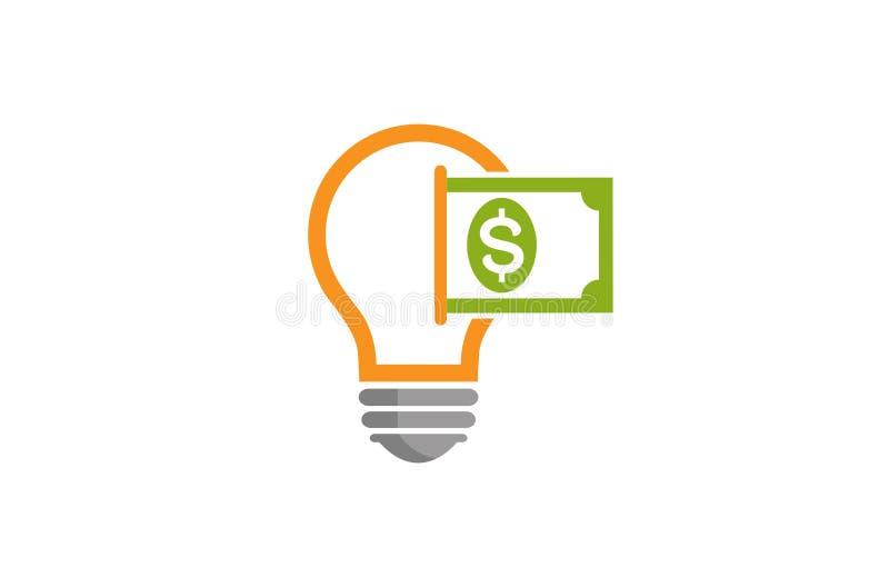 创造性的抽象电灯泡金钱美元商标设计传染媒介标志例证 库存例证