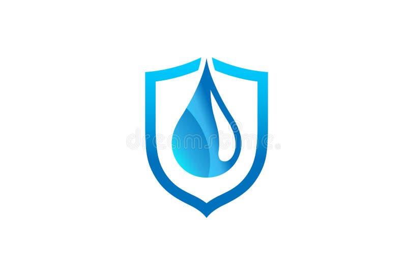 创造性的抽象蓝色小滴盾商标设计标志传染媒介例证 库存例证