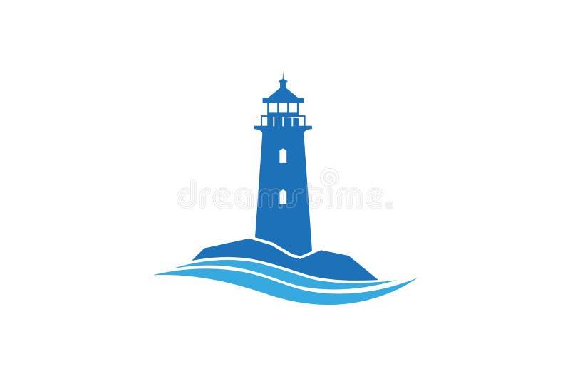 创造性的抽象蓝色灯塔波浪商标设计传染媒介标志例证 皇族释放例证