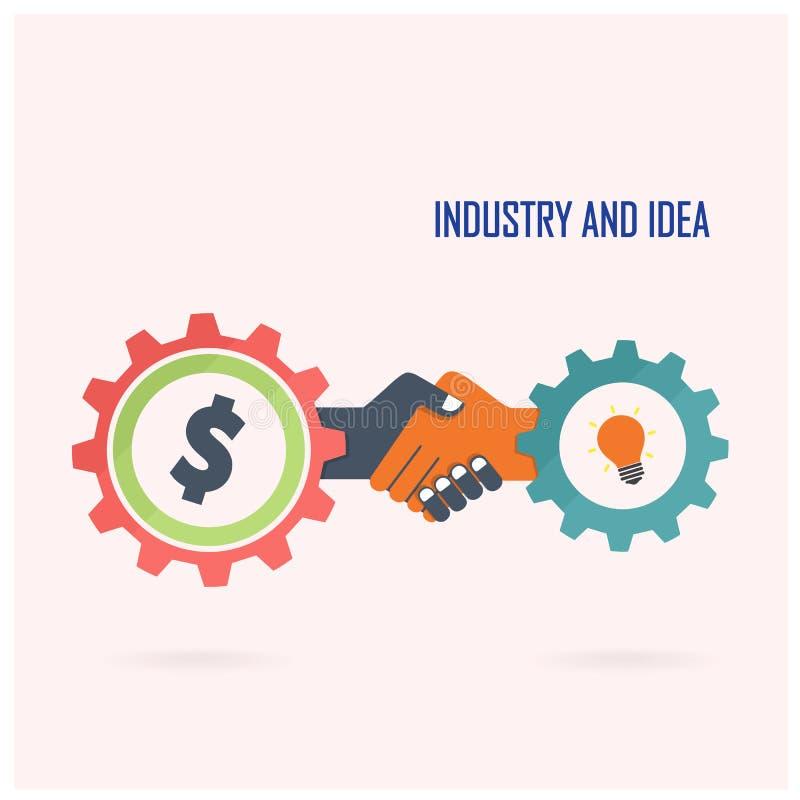 创造性的握手标志和工业想法 向量例证