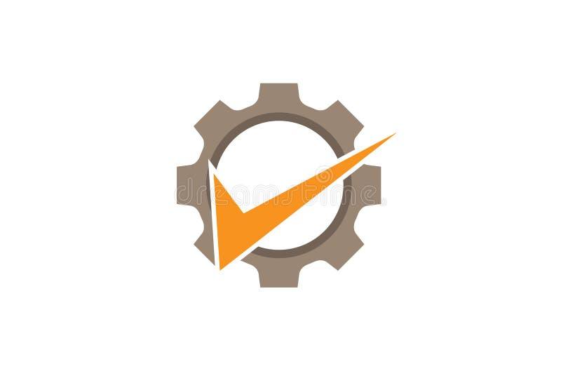 创造性的摘要齿轮橙色检查商标设计例证 库存例证