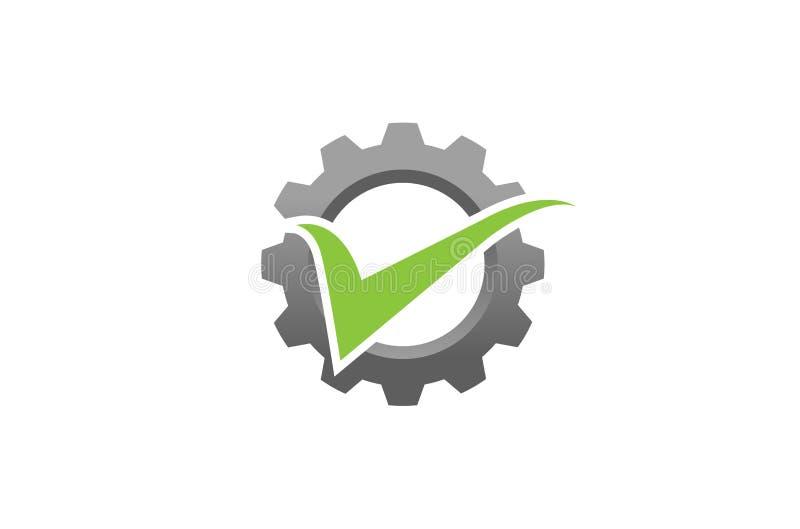创造性的摘要齿轮绿色检查商标设计例证 库存例证