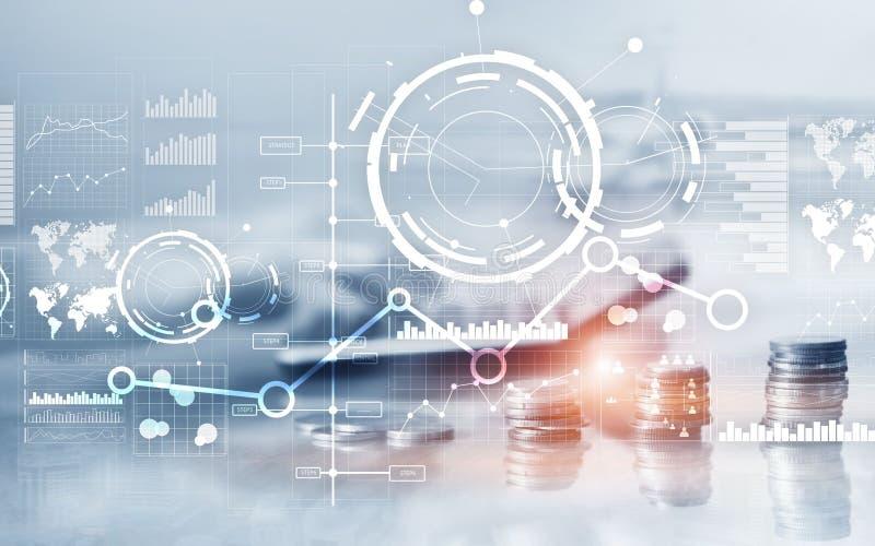 创造性的数字抽象企业接口背景 财政图图表图和象在虚屏上 r 库存图片