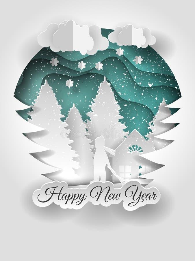创造性的新年好2018设计 圣诞节愉快的快活的新年度 向量例证