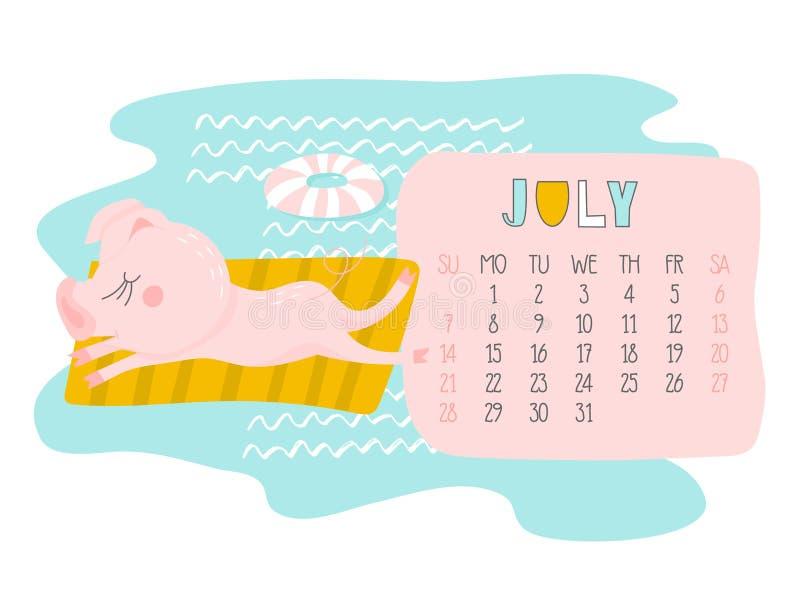 创造性的日历与逗人喜爱的猪的2019年7月 概念,传染媒介垂直的编辑图片