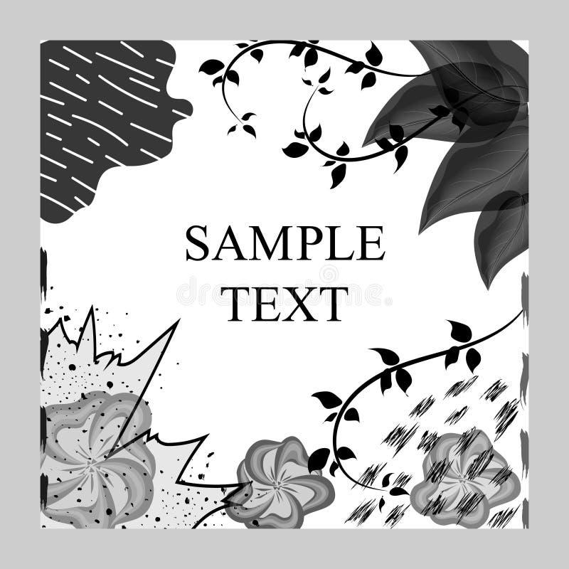 创造性的时尚魅力手拉的花卉背景 导航黑白织地不很细卡片 美丽的抽象海报 皇族释放例证