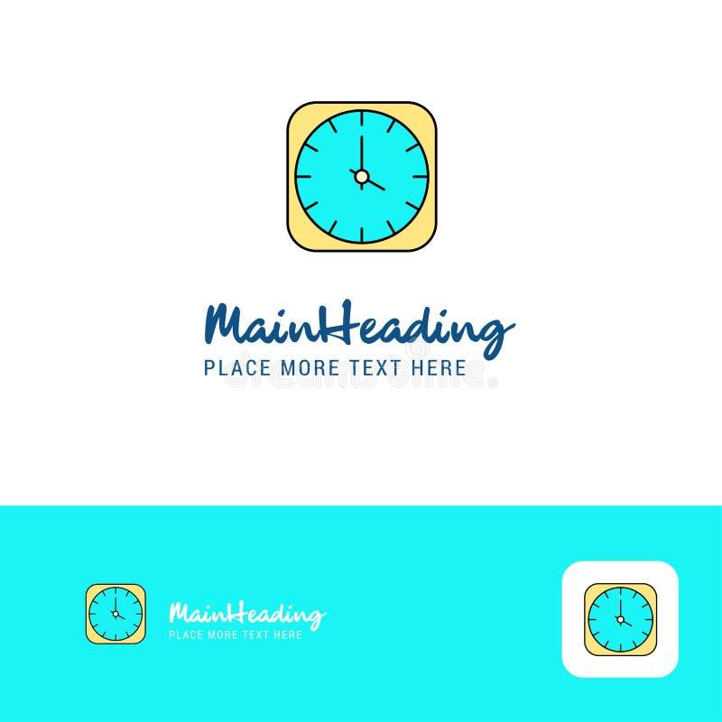 创造性的时钟商标设计 口号的平的颜色商标地方 也corel凹道例证向量 库存例证