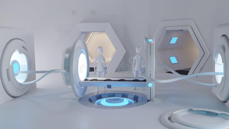 创造性的未来有两个机器人的技术机器人医疗设备在屋子3d例证里 皇族释放例证