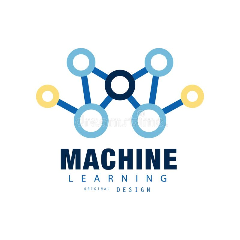 创造性的机器学习商标 人工智能象 技术计算 网的抽象平的传染媒介设计 向量例证