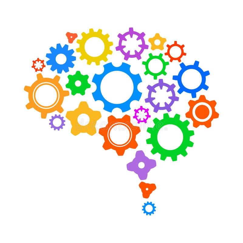 创造性的概念齿轮-传染媒介人脑  库存例证