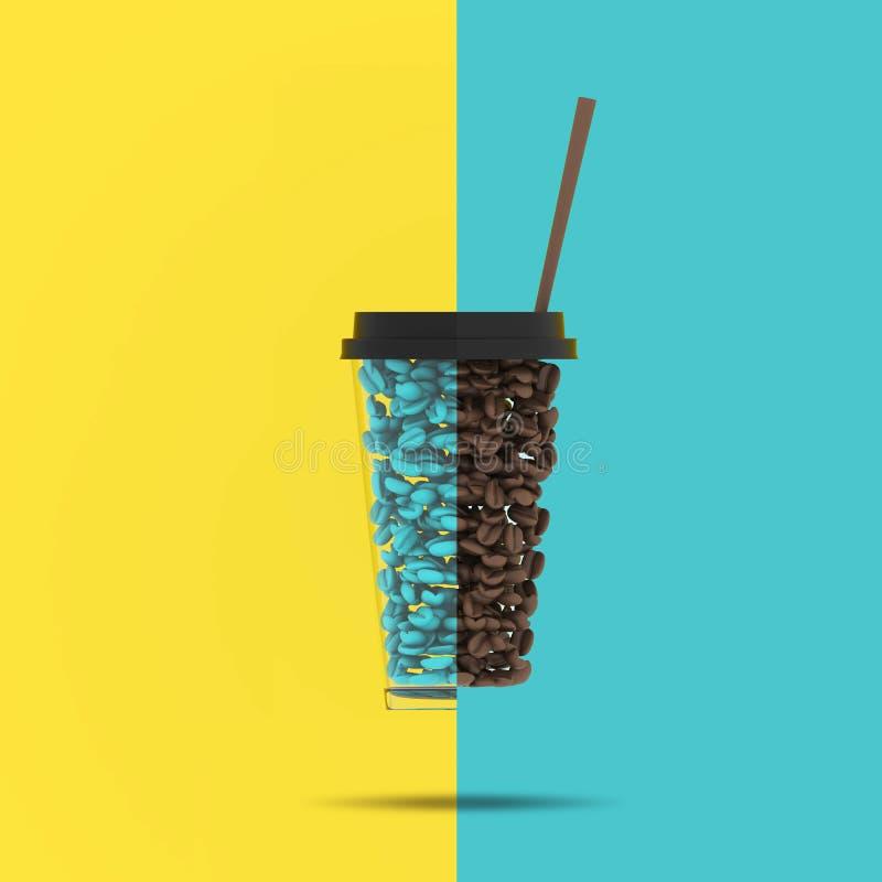 创造性的概念:在杯子形状的卓著的咖啡豆在淡色蓝色和黄色对比背景的 最小的概念想法 库存图片