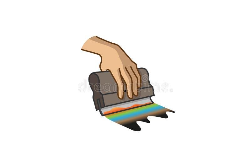 创造性的橡皮刮板丝网印刷商标标志传染媒介例证 皇族释放例证