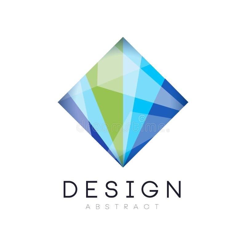 创造性的水晶商标模板 在梯度蓝色和绿色的菱形象 抽象传染媒介设计为 库存例证