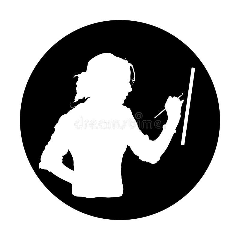 创造性的沉思画家绘一幅画,传染媒介剪影例证 在艺术车间创造性的正面女孩的绘画工艺 皇族释放例证