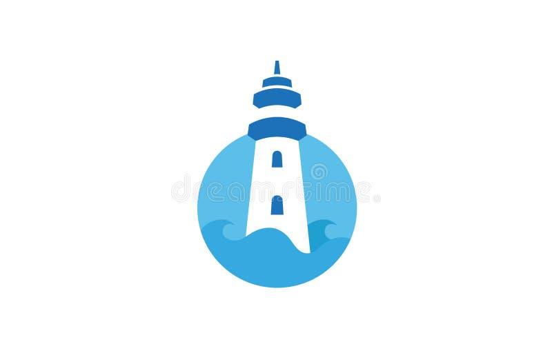 创造性的灯塔圈子商标设计传染媒介标志例证 皇族释放例证