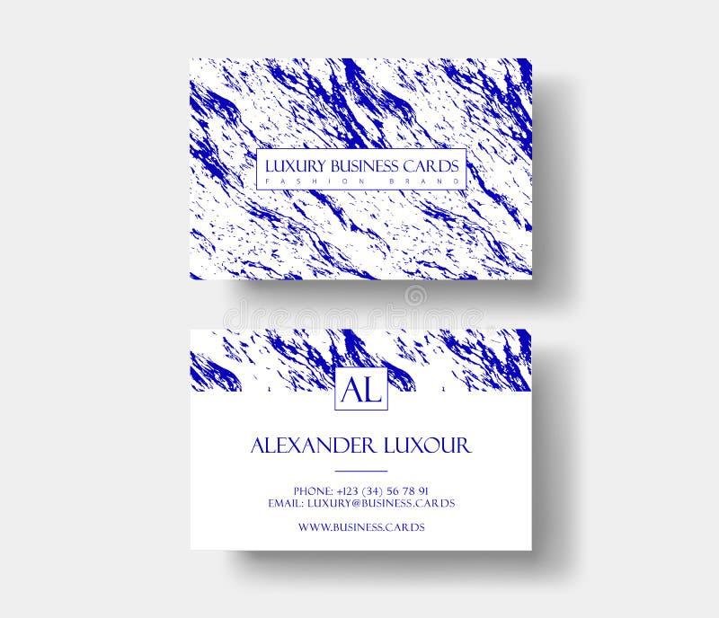 创造性的现代fashioner名片,与抽象蓝色大理石纹理 皇族释放例证