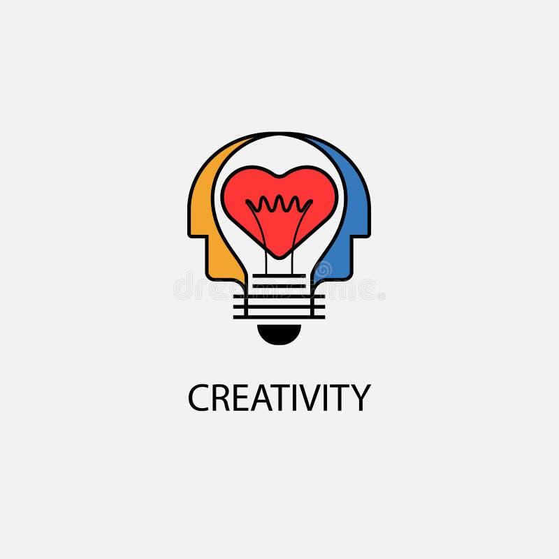 创造性的电灯泡、心脏象和人头传染媒介设计禁令 库存例证