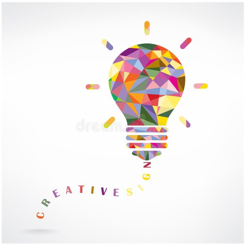 创造性的电灯泡想法概念背景设计 库存例证