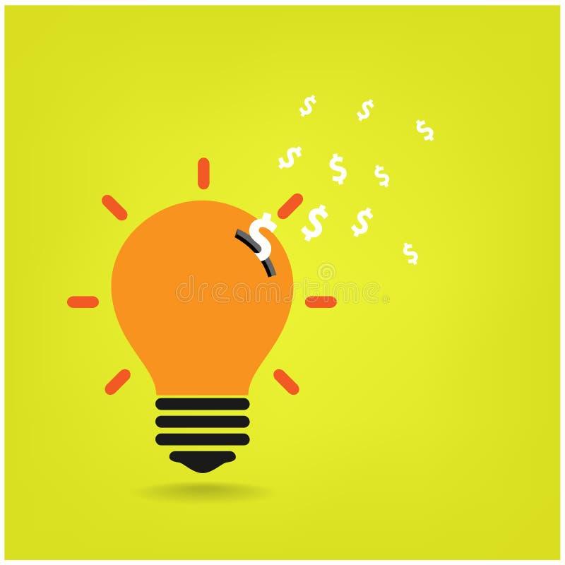 创造性的电灯泡,保存的标志, 向量例证