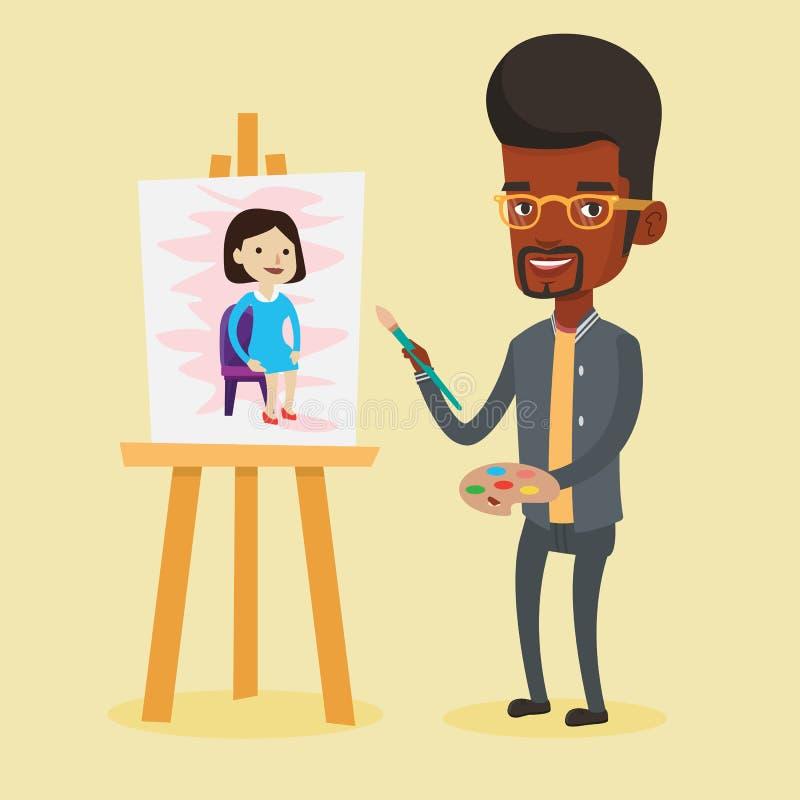 创造性的男性艺术家绘画画象 库存例证