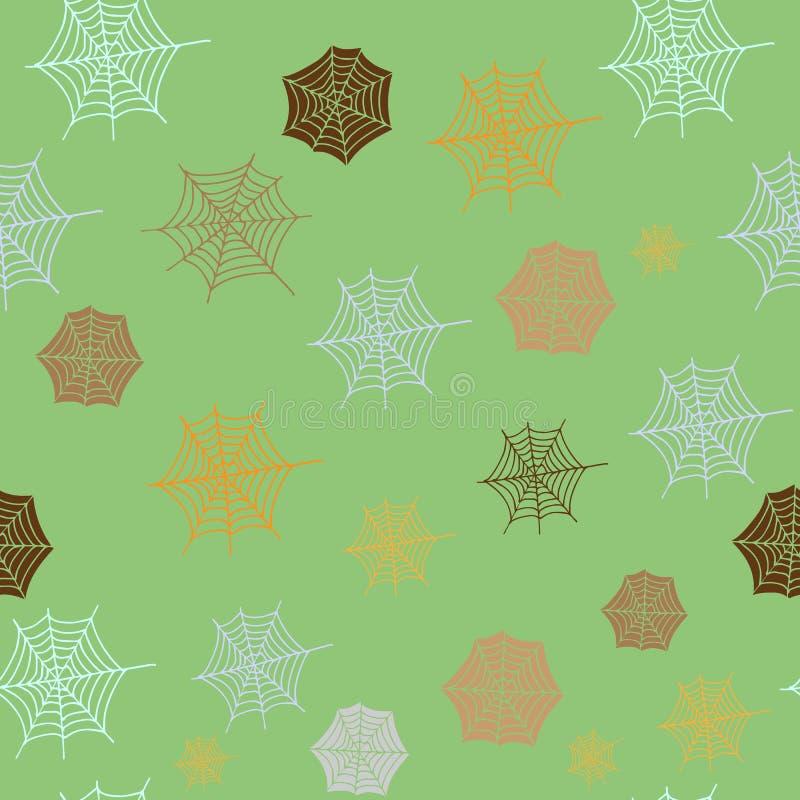 创造性的秋天无缝的样式 手拉的蜘蛛网纹理 向量例证