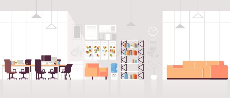 创造性的空工作场所现代的露天场所没人与平展休息室区域的办公室内部当代共同工作的中心 库存例证