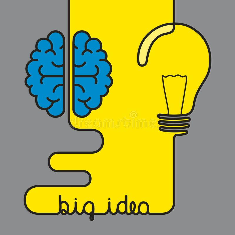 创造性的突发的灵感概念企业想法 形成脑子和电灯泡的导线 皇族释放例证