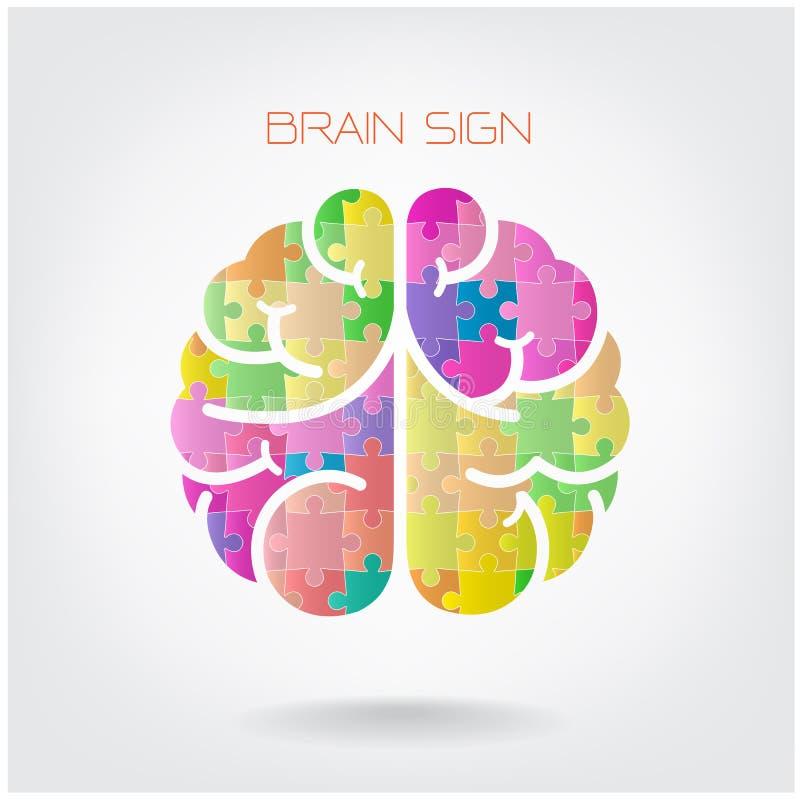 创造性的竖锯左右脑子标志 库存例证