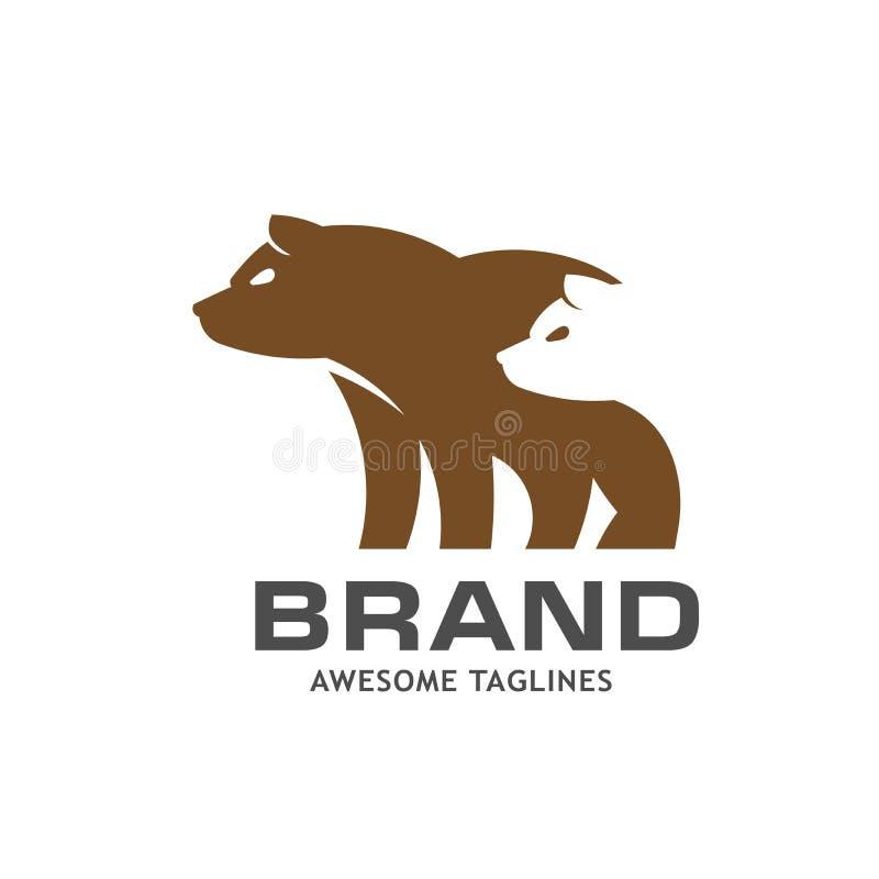 创造性的简单的熊商标 皇族释放例证