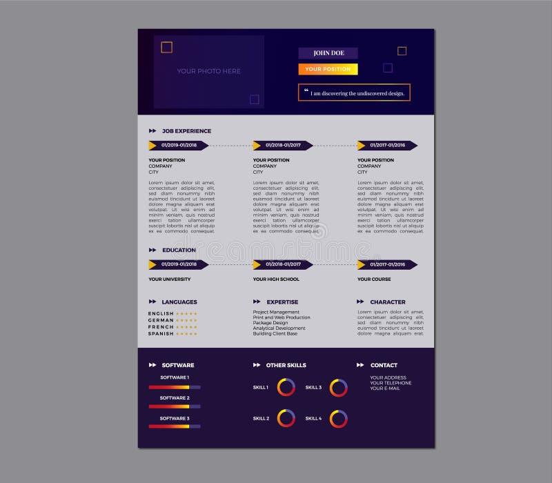 创造性的简历模板设计/五颜六色的简历模板 库存例证