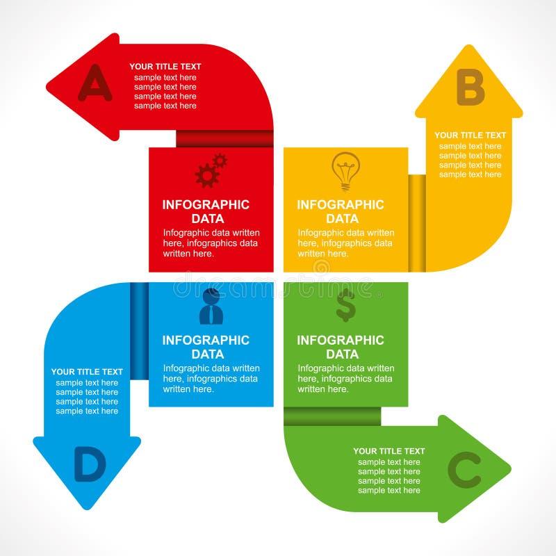 创造性的箭头信息图表设计 库存例证