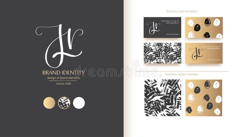创造性的组合图案-手拉的书法标志 大写J和小写r字母组合 r 免版税库存图片