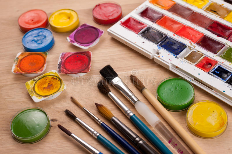创造性的背景由为绘的艺术工具制成 库存照片