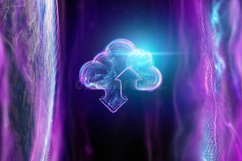 创造性的背景,一朵云彩的全息图的图象在地球的背景的 云彩技术的概念 皇族释放例证