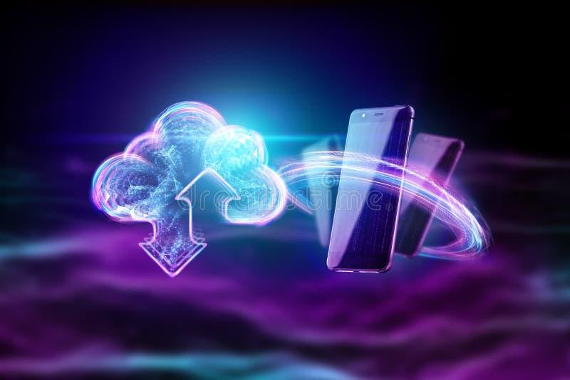 创造性的背景,云彩全息图图象在能量波浪背景,紫色背景的 云彩的概念 皇族释放例证