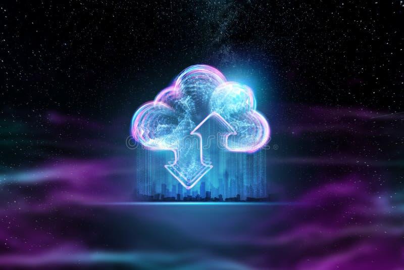 创造性的背景,云彩全息图图象在能量波浪背景,紫色背景的 云彩的概念 库存例证