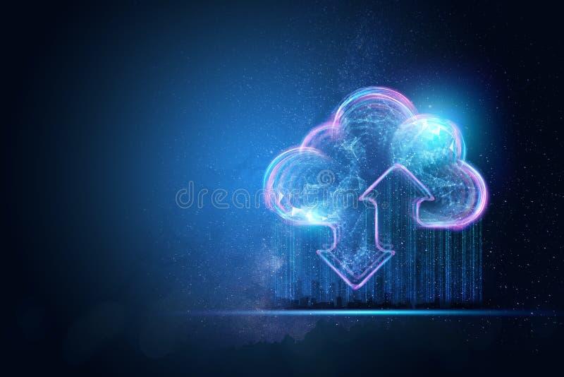 创造性的背景,云彩,蓝色背景的全息图的图象 云彩技术,云彩的概念 向量例证