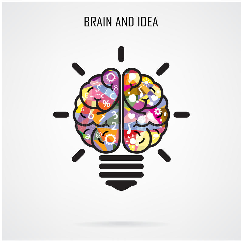 创造性的脑子想法和电灯泡概念,教育概念 向量例证
