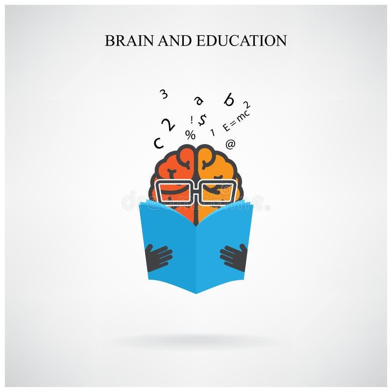 创造性的脑子标志和书标志在背景,设计po的 向量例证
