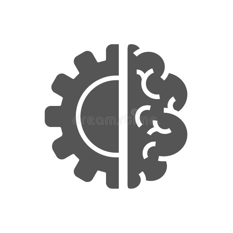 创造性的脑子概念商标设计模板 AI,Iot,产业4 库存例证